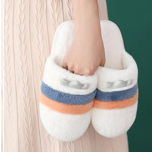2020 Kadınlar Kış Sıcak Ev 2020 kadın Rahat Peluş Slaytlar Kadın Kürk Terlik Severler Flats Sevimli Kadın Ayakkabı Artı Boyutu