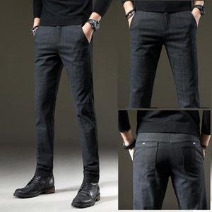 jantour Brand Pants Men Casual Elastic Long Trousers Male Cotton plaid gray Work Pant men's autumn Winter big size 28-38