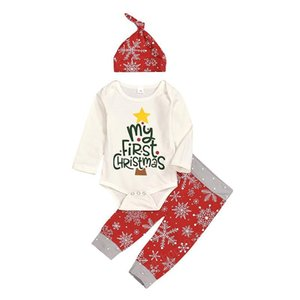 Xmas Baby Wear Snowflake Clothing Long Sleeve Romper Pants Hat 3 pcs Fashion Girl My 1st Christmas Baby Outfit Clothes