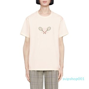 19SS Tennis Racket Embroidery T-shirt Casual Beige Made In Italy T-Shirt Men Women Short Sleeves Summer T Shirt Fashion Men Women Tee