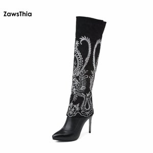 ZawsThia genuine leather bead embroidery ethnic peacock pattern pointed toe high heel woman shoes winter knee high boots size 41