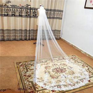 3 M Dantel Kenar Katedrali Düğün Veils ile Tarak Beyaz Fildişi Uzun Tül Veils Düğün Aksesuarları Gelin Peçe Velos De Novia CPA3216