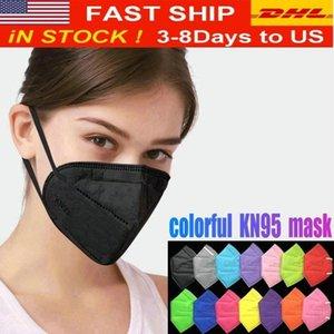 Art und Weise bunte Gesichtsmaske Filtermasken Wiederverwendbare 5 Schichten Gesichtsschutzabdeckungen für Erwachsene Schwarz Mascherina DHL FY0006