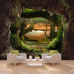 Custom 3D Photo Wallpaper Cave Stone Wall Primitive Forest Large Mural Living Room Bedroom Covering papers Home Decor