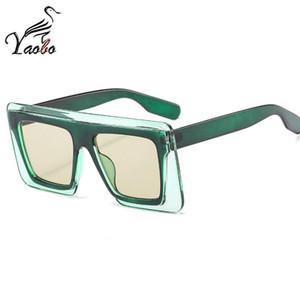 Seksi Yeni Moda Büyük Kare Şeffaf Güneş gözlüğü Kadınlar Tasarımcı Düz Üst çift Renk Oversize çerçeve Güneş Gözlükleri Kadın UV400