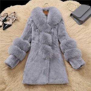Liuj QM Winter Winter Sheepskin Abrigos de piel de alta calidad Cálidos de piel de piel sintética cálido Cuello de piel a presión Slim Furs Chaqueta más tamaño 2581