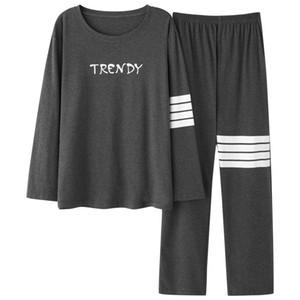 Conjuntos de algodón para hombres XIZOU caliente O-cuello Conjunto de pijama de manga larga tendencia de la moda otoño invierno ocio diario suelta la ropa de noche Pijama