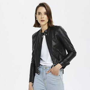 Женская кожаная из искусственных 2021 осень PU мягкая куртка женщины мотоцикл молния пальто женские тонкие байкерские пальто базовая уличная одежда