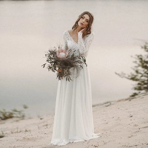 Sexy Backless White Beach Wedding Dresses A Line Illusion Long Sleeves Tops Lace Cheap Chiffon Wedding Gowns Full Length Boho Bridal Gowns