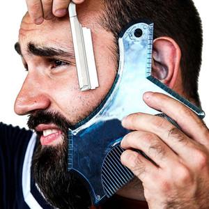 헤어 브러쉬 혁신적인 디자인 수염 모양 도구 트리밍 셰이퍼 템플릿 가이드 면도기 또는 전체 크기 빗 줄무늬가있는 스텐실