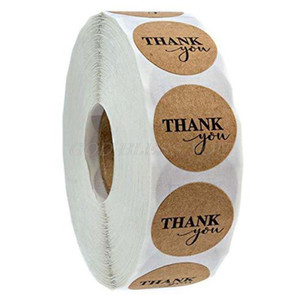 500pcs Roll Round Natural Kraft Thank You Stickers Seal Labels Scrapbooking Decoration Stationery Sticker Drop Shipping