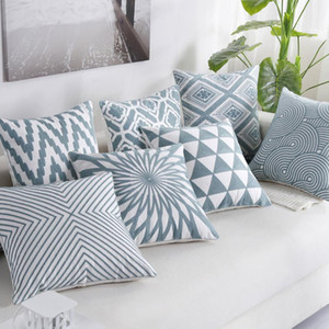 Cotton Embroidery Pillowcase Nordics Geometric Bule Cushion Cover Cojines Decorativos Para Sofa New Year Home Decorative pillows
