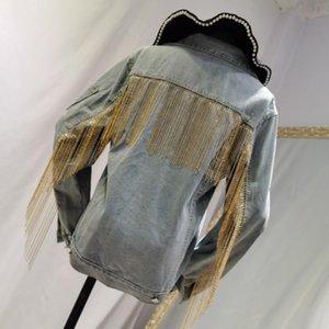 Stile Europeo Giacca di jeans Donna 2020 Catena Heavy Industry cucire nappa lavata Jean cappotti femminile Giacca di jeans delle donne