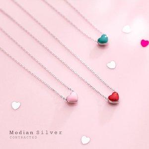 Chaînes Modian Real 925 Sterling Sterling Rose Rose Green Email Coiffe Pendentif Collier pour Femmes Déclaration Fine Bijoux Collar1