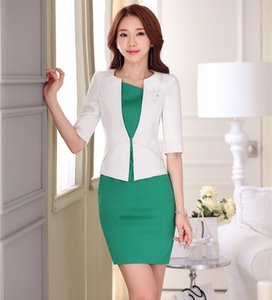 Formal Ol Stile Frühling, Sommer, professionelle weiße Business-Frauen Uniformen Entwurf Blazer Anzüge mit Jacken und Kleid Outfits Set
