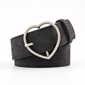 OLOME Vintage Black Red Leather Belt Women Heart Buckle 3.5cm Wide Waist Belt Waistband Female Ladies Belts for Dress Jeans