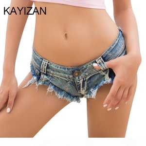 KAYIZAN New Summer Jeans Women Beach Pants Sexy Jeans Denim Mini Short Hot Pants Low Waist Sexy Hole Hot Bottom