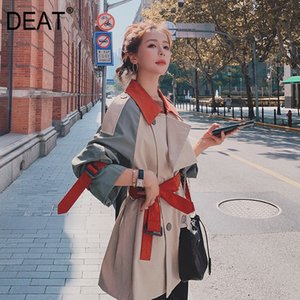[DEAT] New Autumn Fashion Women's Trench Coat England Style Full Sleeve Lapel Collar Short Length Solid With Belt TX153 201030