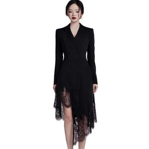 Pizzo Donne CINESSD sexy Blazer abito per i vestiti neri di lino a maniche lunghe con intaglio formale irregolare Pacrty Abiti Plus Size