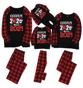 Красный Черный Plaid Мода Рождество Пижама 2020 Hello 2021 2 шт Набор маска Санта-Клаус Kid ребенка ползунки брюки Xmas PJs Главная Одежда E110202
