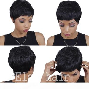 Ucuz İnsan Gerçek Saç Kısa Pixie Kesim Peruk Perulu Tam Saç Tutkalsız Dantel Peruk Afrika Amerikan Kısa Bob Peruk