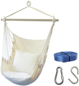 Outdoor and indoor leisure hanging chair includes double pillow hammock chair, leisure hanging swing with side bag,400 pound large space siz
