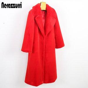 Nerazzurri Langer Winter faux Pelzmantel Frauen drehen-unten Kragen Roten weißes Kaninchenfell Mantel Warm plus Größenoberbekleidung 4xl 5xl 6xl 1017