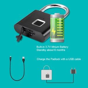rUSB Rechargeable Electronic Lock Door Fingerprint Padlock Digital Lock Thumbprint Door Lock For Drawer Suitcase