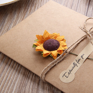 Retro Kraft Paper Greeting Card Creative DIY Handmade Dried Flower Birthday Valentines Day Universal Blessing Card Gifts PPD3868