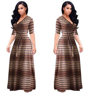 Frauen Designer-Luxus-Kleid-Sommer-Short Sleeve V-Ausschnitt Art und Weise Striped Druck-Kleid Casual Weibliche Kleidung