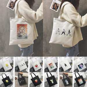 Fashion Lady Lettering Shoulder Bag Candy Color Cartoon Canvas Tote Shopping Bag Student Dropship Y12.12