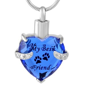 IJD9790 My Best Friend Glass Heart Stainless Steel Cremation Ashes Urn Memorial Jewelry Keepsake Pendant Necklace