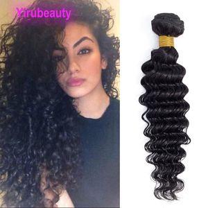 100% brasileña extensiones del cabello humano de la onda profunda de una pieza de muestra profundamente rizado indio virginal del pelo de Malasia apoya al por mayor de las tramas