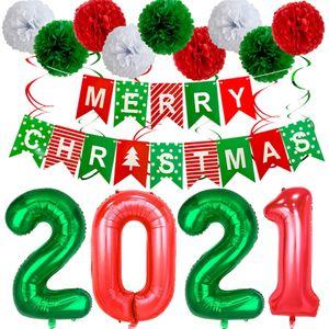 2021 Happy New Year Foil Palloncini Photo Booth Telaio Props Palloncini Oro Nero Banner Garland Natale Capodanno feste AHA1577
