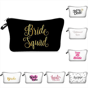 Bridesmaid Wedding Bachelorette Hen Party Makeup Cosmetic Bag Simple Team Bride Letter Printed Beauty Case Toiletry Bag For Gift