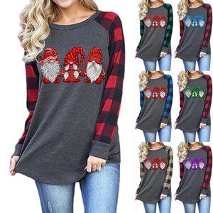 귀여운 크리스마스 탑 긴 소매 크리스마스 트리 인쇄 티셔츠 여성 느슨한 티 가을 raglan 격자 무늬 슬리브 티셔츠 DDA759