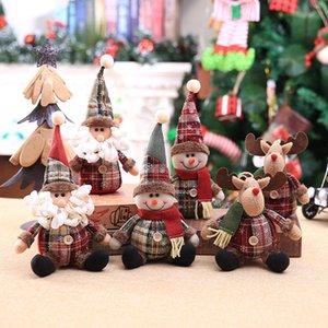 Noël dessin animé ornement enfants poupée flocon poupée en tissu à carreaux poupée décoration arbre de Noël pendentif Chine gros OWF2380
