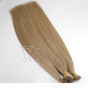 0.5g Strand 50g Çift çizilmiş Önceden Yapışan Bakire Remy İnsan Düz Keratin Saç Uzantıları Toptan Brezilyalı Avrupa I-ucu İnsan
