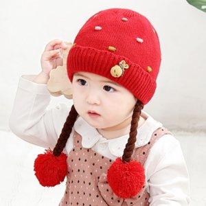 36Xom WIG зима девушки теплая шерсть теплая шапка шапка шапка ребенка 0-2 лет милый маленький скрутить Детки Hat