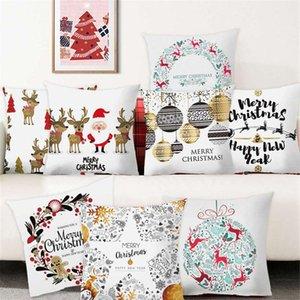 Ev Hediyeler 2021 2020 Noel Süsler Noel Yastık Mutlu Yıllar Cristmas Dekor için Yastık Kapak Merry Christmas Decorations