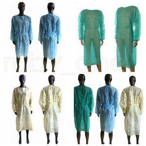 Non-Woven-Schutzkleidung Einweg-Isolation Kleider Kleidung Anzüge Outdoor Schutzmäntel Küche Antistaub-Einweg-Schürzen RRA3795