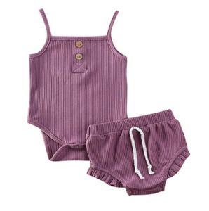 Baby Halter Shorts Set Летняя одежда Установки без рукавов брюки костюмы простые сплошные цветные наряды вскользь жилет брюки одежда hwb2703