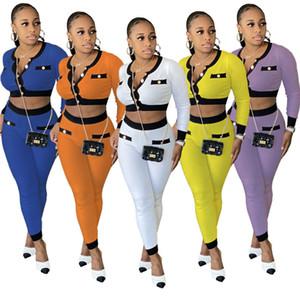 Womens jackets tracksuit long sleeve outfits 2 piece set jogger sport suit sweatshirt tights sport suit women zipper tops pants suit klw5280