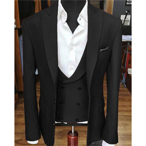 Brand New Groomsmen Peak Lapel Groom Tuxedos Black Men Suits Wedding Prom Dinner Best Man Blazer ( Jacket+Pants+Tie+Vest ) K695