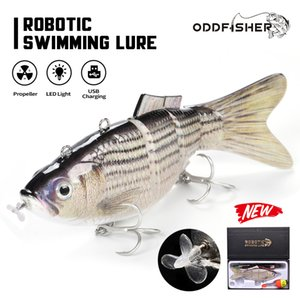 Robotic Fishing Lures Multi Jointed Bait 4 Segments Electric Wobblers For Pike Auto Swimbait USB Rechargeable LED Light Swimming 201031