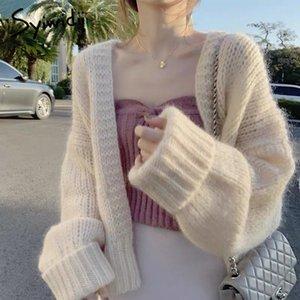 Syiwidii de gran tamaño de las mujeres del suéter flojo de las mujeres rebecas abrigos manera ocasional sólido de punto Ropa de color caqui Beige Rosa 201014