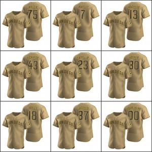 San Diego Men # 23 Fernando Tatis Jr. 13 Manny Machado 75 Cole Wilcox Personalizado Mujeres Jóvenes Tan marrón Auténtico Alterno Padres Padres