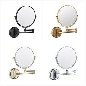 """Muuyue ماكياج مرآة النحاس العتيقة مرايا الحمام 3 × مكبرة مرآة قابلة للطي شاف 8 """"الجانب المزدوج جدار العتيقة جولة"""