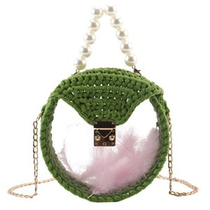 AUAU-Handmade Material Package Small Fragrance Wind Acrylic Feather Woven Bag Transparent Pearl Diagonal Bag Diy Package