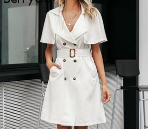 BerryGo White buttons women blazer dress Elegant ruffled sleeve sash belt office ladies trench dress V-neck shawl party55